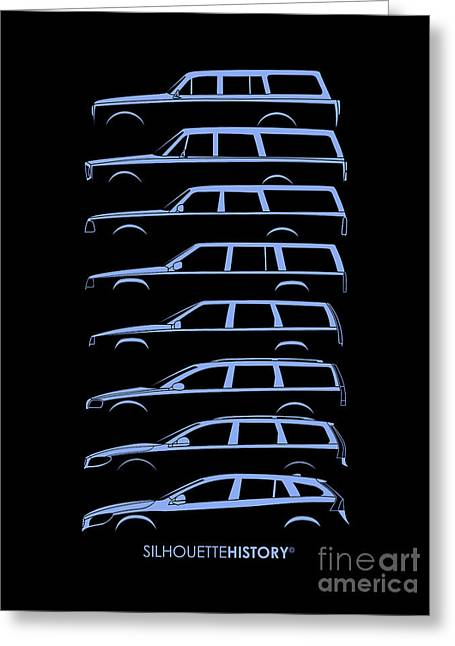 Family Car Greeting Cards - Scandinavian Wagons SilhouetteHistory Greeting Card by Gabor Vida