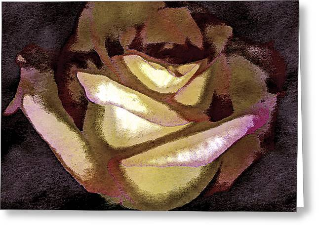 Digital Image Greeting Cards - Scanned Rose Water Color Digital Photogram Greeting Card by Paul Shefferly