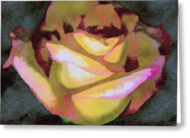 Digital Image Greeting Cards - Scanned Rose Water Color Greeting Card by Paul Shefferly