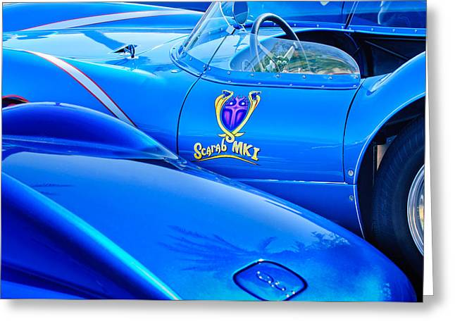 Scarab Greeting Cards - Scarab Roadsters - 1958 Greeting Card by Jill Reger
