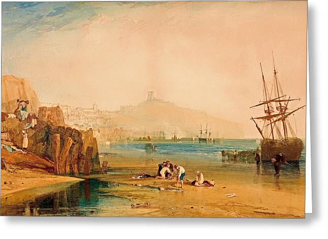 Haze Paintings Greeting Cards - Scarborough - Boys Catching Crabs Greeting Card by J M W Turner