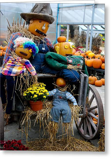 Geobob Greeting Cards - Scarecrow on Wagon at Scotts Yankee Farmers Market East Lyme Connecticut Greeting Card by Robert Ford