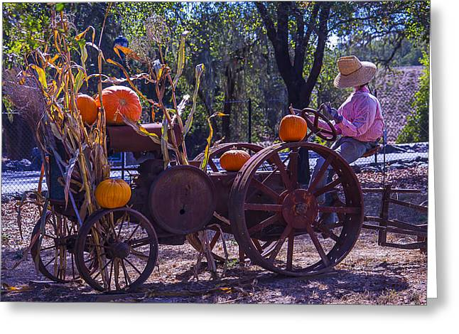 Harvest Time Photographs Greeting Cards - Scarecrow Sitting On Tractor Greeting Card by Garry Gay
