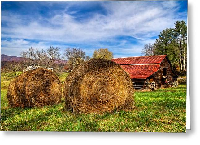 Tennessee Hay Bales Greeting Cards - Scarecrows Dream Greeting Card by Debra and Dave Vanderlaan