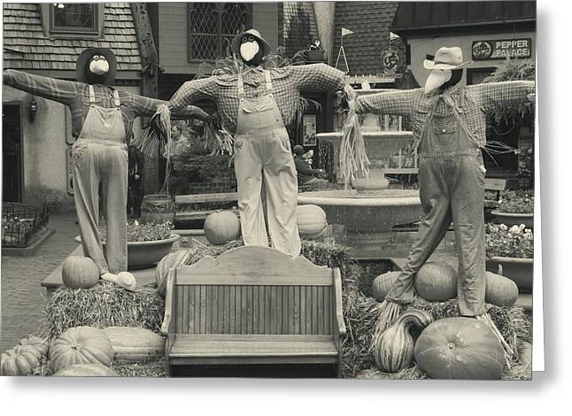 Tennessee Hay Bales Greeting Cards - Scarecrows In Autumn Gatlinburg Tennessee Greeting Card by Dan Sproul