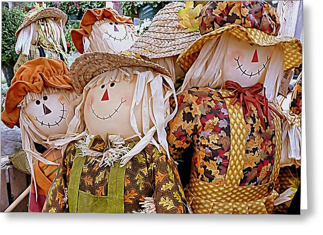 Farmstand Greeting Cards - Scarecrows Greeting Card by Janice Drew