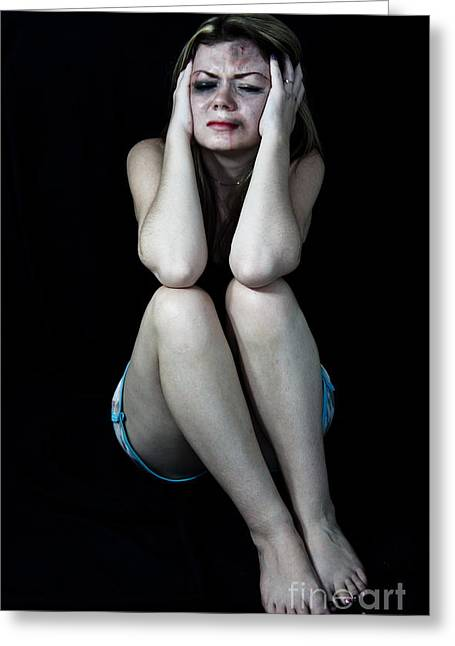 Distraught Greeting Cards - Scared beaten woman  Greeting Card by Niphon Chanthana