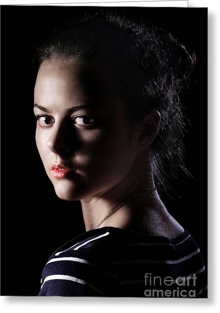 Scared Girl In Dark Greeting Card by Aleksey Tugolukov
