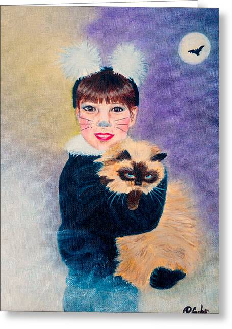 Moon With Bats Greeting Cards - Scaredy Cat Hallows Eve Greeting Card by Dr Pat Gehr