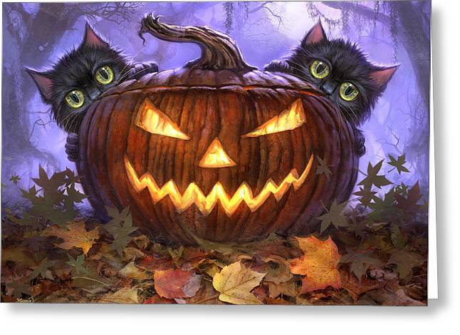 Pumpkin Greeting Cards - Scaredy Cats Greeting Card by Jeff Haynie