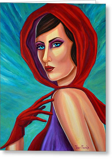 Starlet Paintings Greeting Cards - Scarf and Gloves Greeting Card by Tony Franza