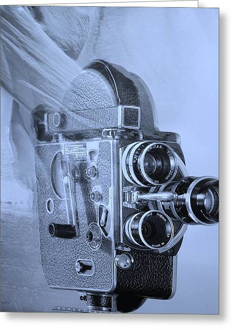 Over-exposed Greeting Cards - SCARF CAMERA in CYAN  Greeting Card by Rob Hans