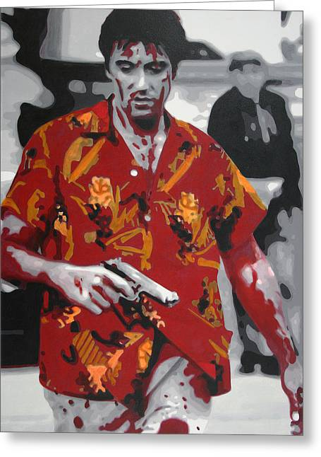 Cocaine Greeting Cards - Scarface 2013 Greeting Card by Luis Ludzska