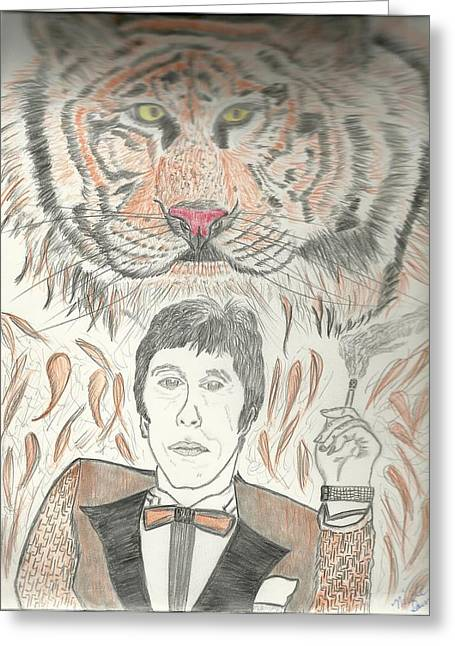 Movie Art Greeting Cards - Al Pacino with  Tiger Drawing Greeting Card by Nicole Burrell