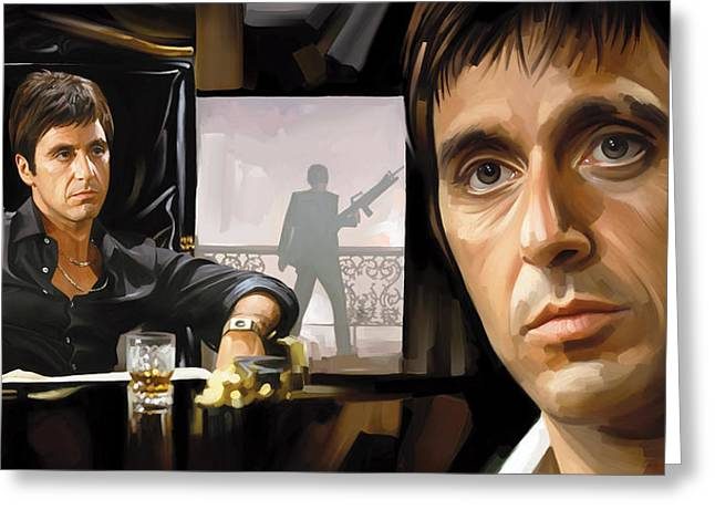 Scarface Greeting Cards - Scarface Artwork 1 Greeting Card by Sheraz A
