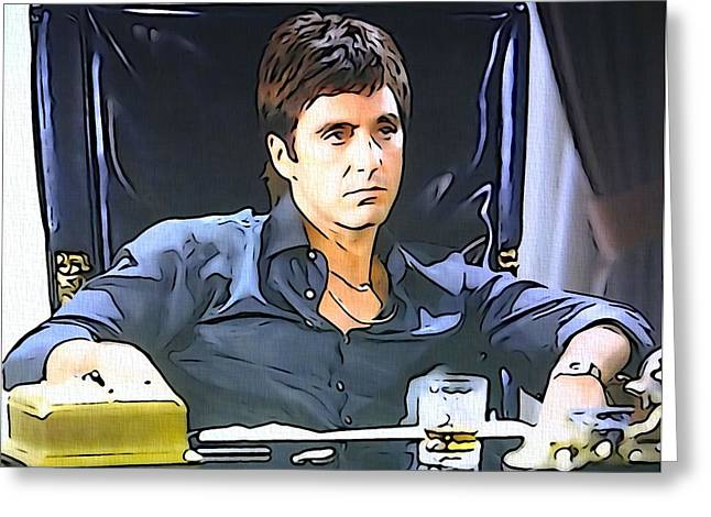 Tony Montana Greeting Cards - Scarface Greeting Card by Dan Sproul