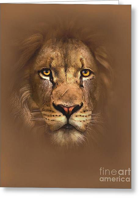 Lion Greeting Cards - Scarface Lion Greeting Card by Robert Foster