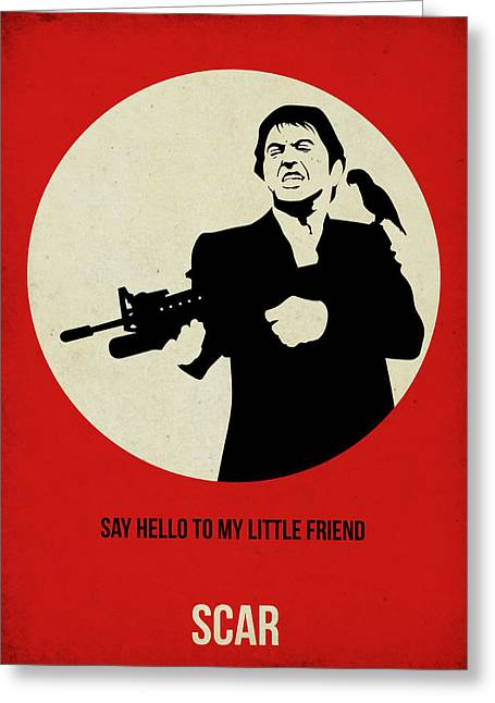 Tony Montana Greeting Cards - Scarface Poster Greeting Card by Naxart Studio