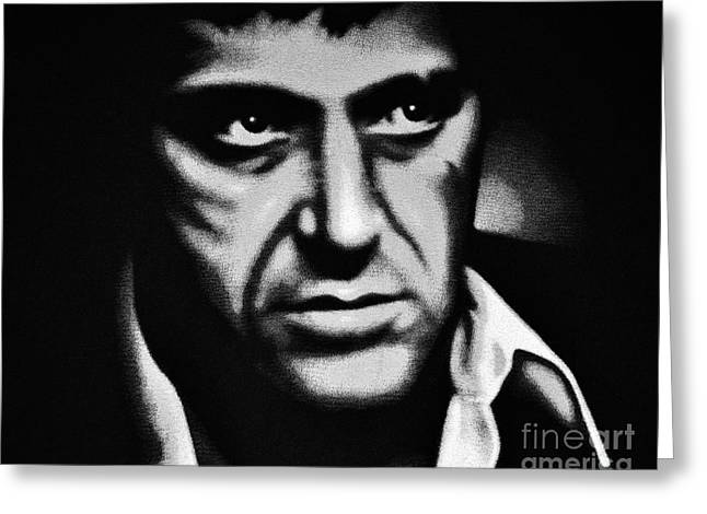 Mob-drama Film Greeting Cards - Scarface Staredown Greeting Card by Al Powell Photography USA
