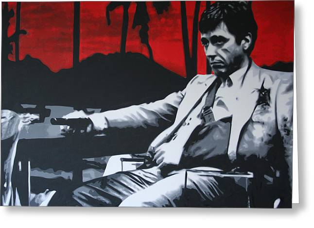 Language Greeting Cards - Scarface - Sunset 2013 Greeting Card by Luis Ludzska