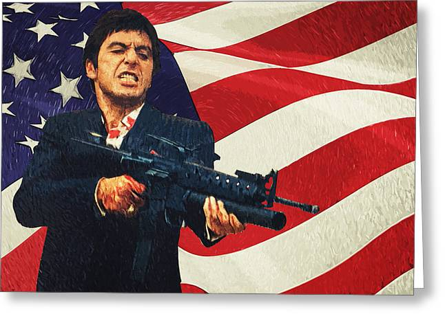 The American Dream Digital Art Greeting Cards - Scarface Greeting Card by Taylan Soyturk
