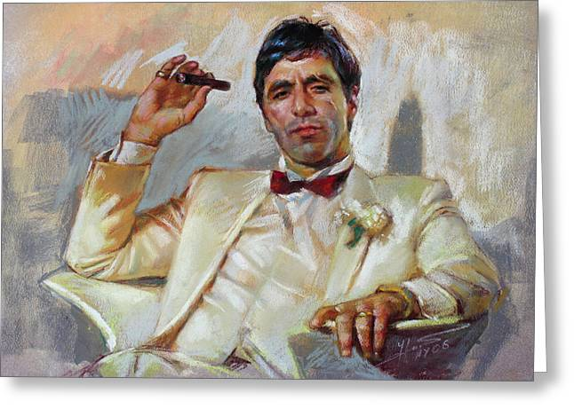 Tony Montana Greeting Cards - Scarface Greeting Card by Ylli Haruni