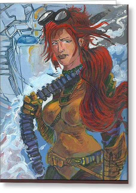 Gi Paintings Greeting Cards - Scarlet and RC sisters in arms 01 Greeting Card by Simon Drohen