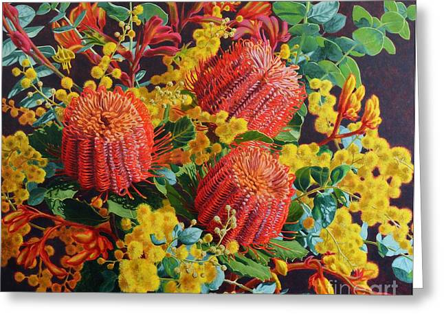 Wattle Greeting Cards - Scarlet Banksias and Wattle Greeting Card by Fiona Craig