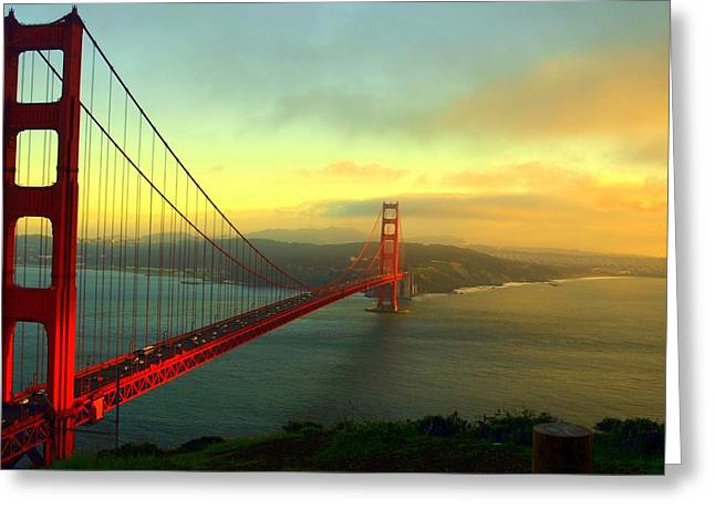 Golden Gate Drawings Greeting Cards - Scarlet Bridge Greeting Card by George Inness
