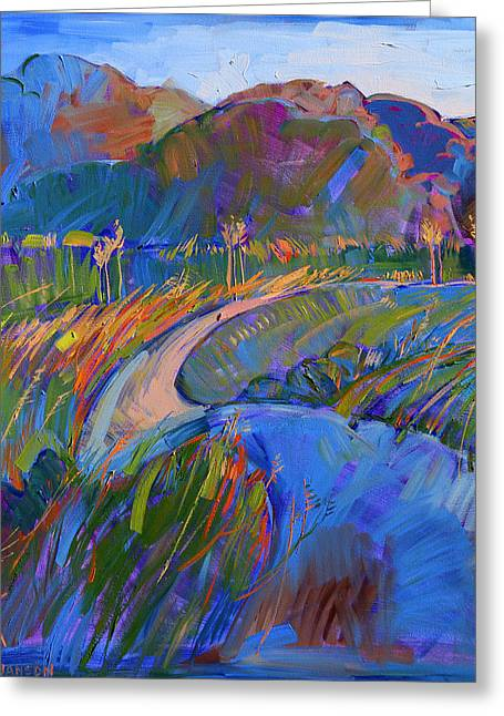 Erin Greeting Cards - Scarlet Grass in Triptych - Left Panel Greeting Card by Erin Hanson