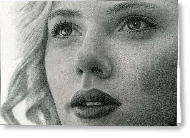 Scarlet Johansson Greeting Card by Erin Mathis