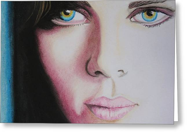 Profile Pastels Greeting Cards - Scarlett Johansson Greeting Card by Merrin Jeff