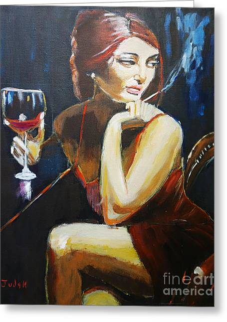 Figurative Greeting Cards - Scarlet Greeting Card by Judy Kay