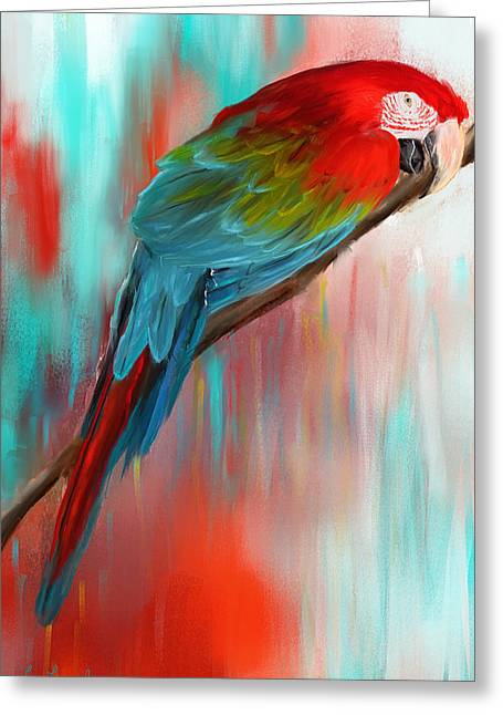 Pirates Paintings Greeting Cards - Scarlet- Red And Turquoise Art Greeting Card by Lourry Legarde
