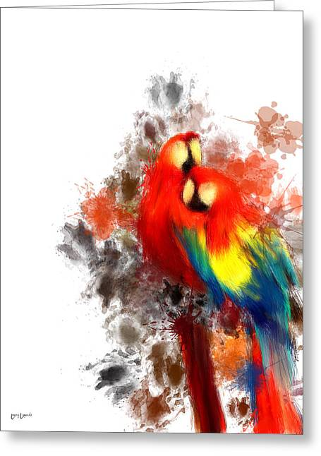 Macaw Art Greeting Cards - Scarlet Macaw Greeting Card by Lourry Legarde