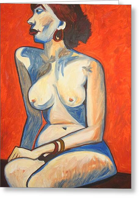 Artistic Nude Framed Prints Greeting Cards - Scarlet of Cherry Lips Greeting Card by Esther Newman-Cohen