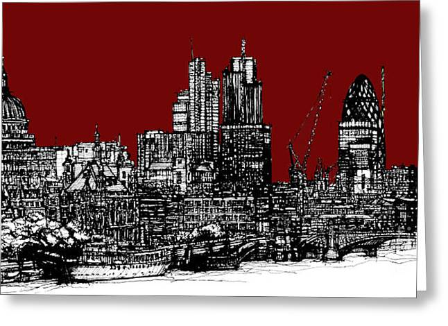 Pen And Ink Framed Prints Greeting Cards - Scarlet red London skyline Greeting Card by Lee-Ann Adendorff