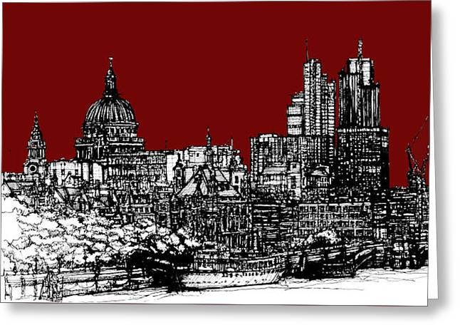 City Skylines Framed Prints Greeting Cards - Dark Ink with bright scarlet red London skyline Greeting Card by Lee-Ann Adendorff