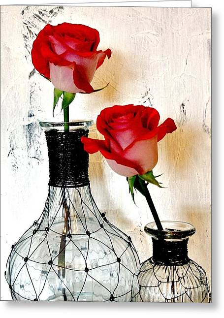 Glass Vase Greeting Cards - Scarlet Red Roses Greeting Card by Marsha Heiken