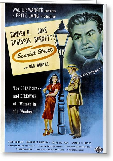 1945 Movies Greeting Cards - Scarlet Street - 1945 Greeting Card by Nomad Art And  Design