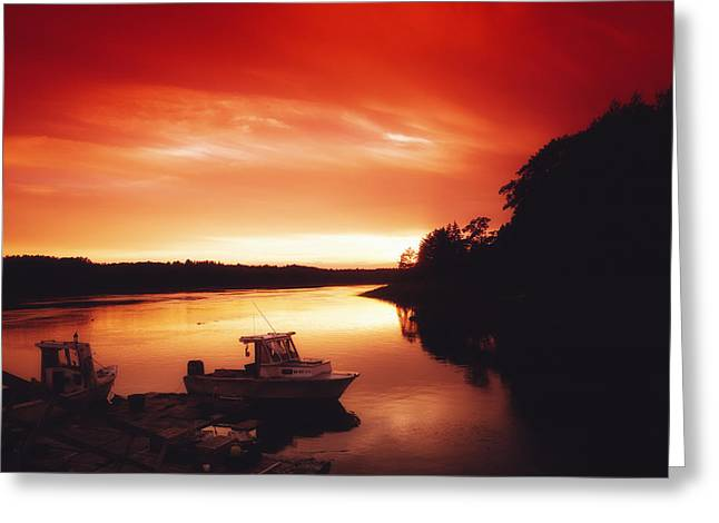 Surreal Landscape Photographs Greeting Cards - Scarlet Sunset over Watch Hill  Greeting Card by Mountain Dreams