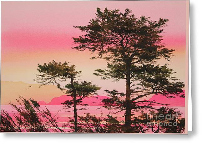 Sunset Prints Greeting Cards - Scarlet Sunset Silhouettes Greeting Card by James Williamson