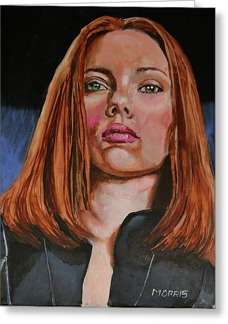 Black Widow Paintings Greeting Cards - Scarlett Johansson / Black Widow Greeting Card by Dwain Morris