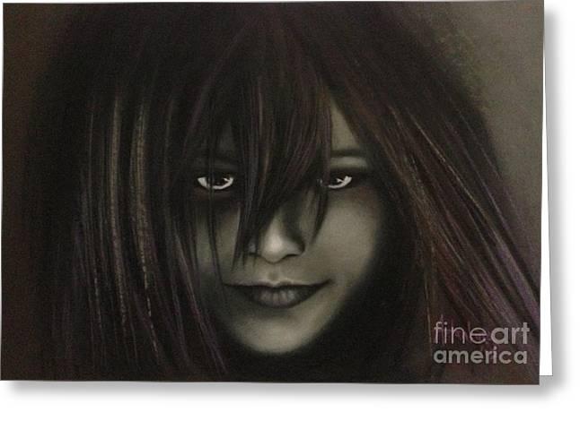 Dark Eyes Pastels Greeting Cards - Scarlett Greeting Card by Natalia Astankina