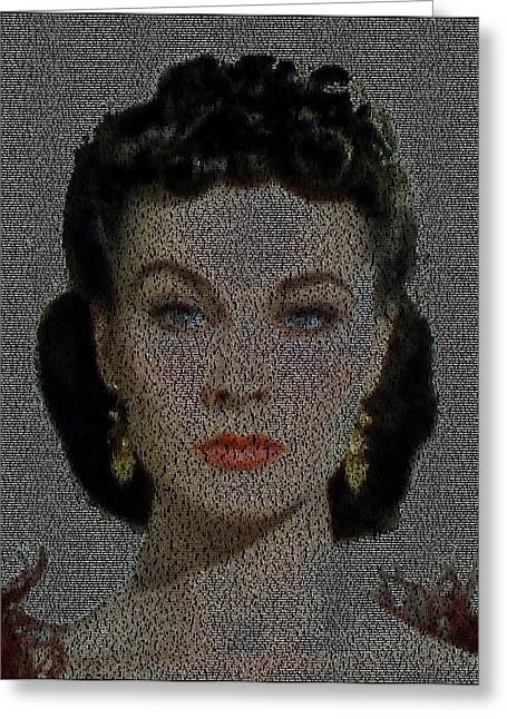 1938 Movies Greeting Cards - Scarlett OHara Quotes Mosaic Greeting Card by Paul Van Scott