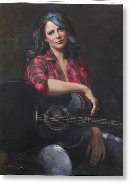 Singer-songwriter Greeting Cards - Scarlit Tones Greeting Card by Anna Bain