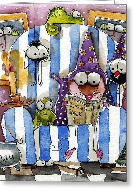 Scary Book Club Greeting Card by Lucia Stewart