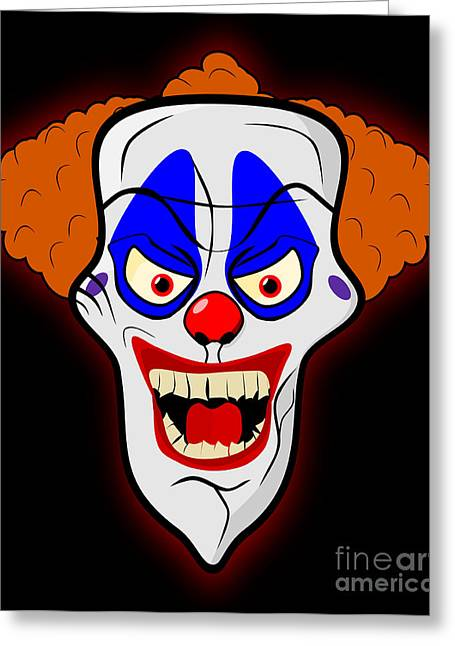 Scary Clown Greeting Cards - Scary clown Greeting Card by Martin Capek