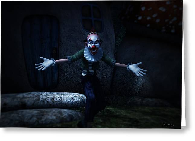 Scary Clown Greeting Cards - Scary Clown Greeting Card by Ramon Martinez