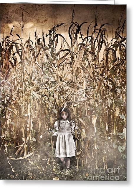 Book Cover Art Greeting Cards - Scary Corn Field Girl Greeting Card by Jt PhotoDesign